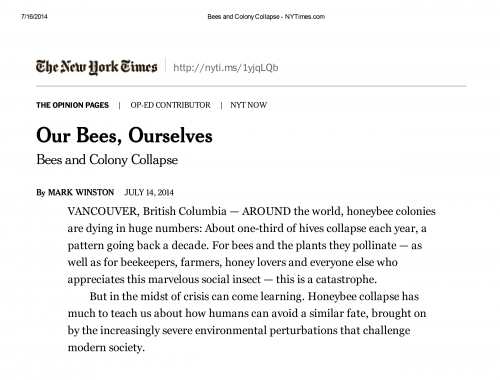 Our Bees, Ourselves by Mark Winston
